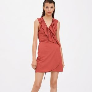 Zara ruffled wrap dress dark pink sleeveless nwt